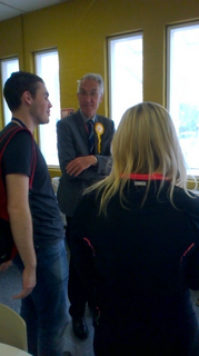 Peter Jones chats with students at Amersham & Wycombe College in Amersham