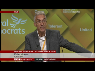 Peter Jones at Liberal Democrat conference 2016