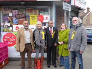 Ruth Juett with campaigning Liberal Democrats